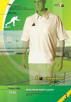 Mens Bowlswear Aust. s/sleeve cream bowls polo