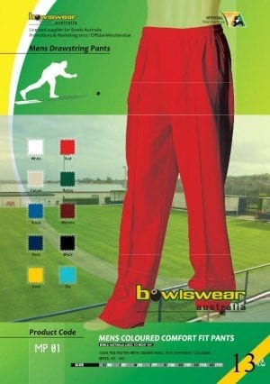 Mens Bowlswear Aust. elastic bowls pants