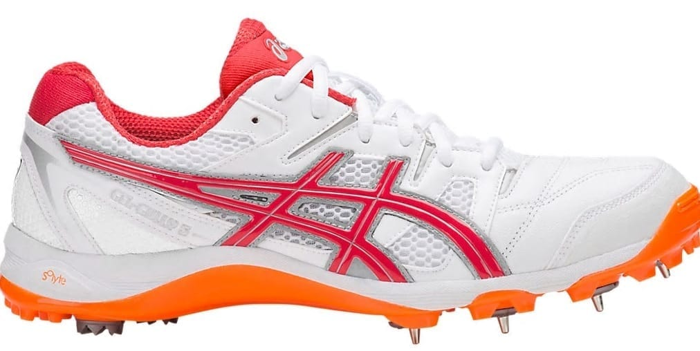new & pre-owned designer buy best best authentic Asics Gully 5 spike cricket shoes (White/Orange)